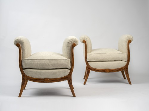 A Groult - pair of stools - Seating Style Art Déco