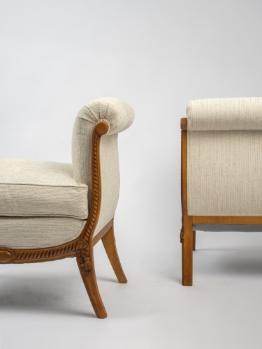 20th century - A Groult - pair of stools