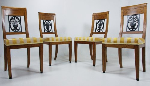 Suite of 4 Chairs, Directory period, stamped Parmantier à Lyon