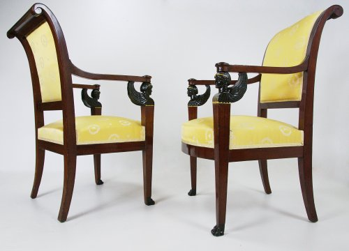Pair of armchairs of the Consulat period by Bellangé