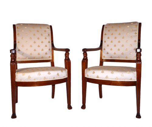 Pair of armchairs of the Empire period, beginning of the 19th century