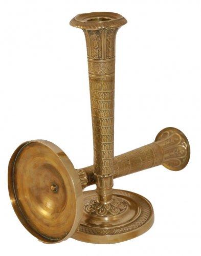 Pair of Empire gilt brass candlesticks