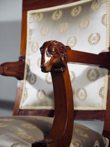 Pair of armchairs attributed to Jacob brothers, Consulate period - Seating Style Empire