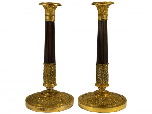 Great pair of candlesticks of the Empire period, 19th century