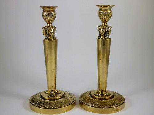 Pair of candlesticks by Claude Galle - Lighting Style Empire
