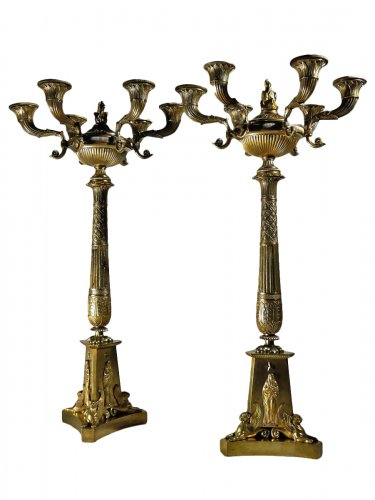 Large pair of candelabra of the Empire period, 19th century