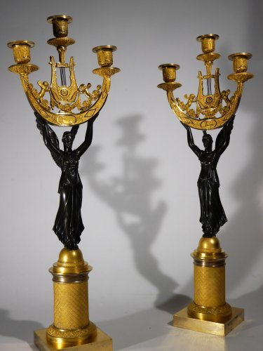 Pair of candelabra of the Empire period - Lighting Style Empire