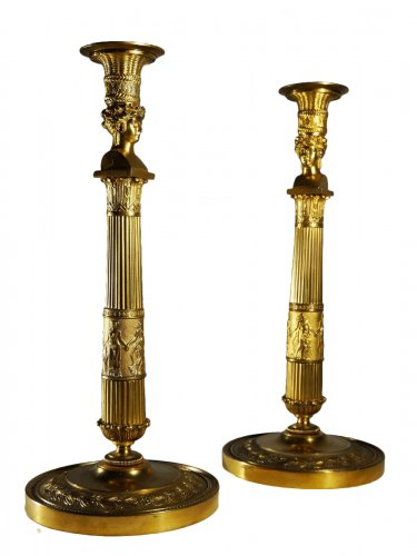 "Pair of candlesticks ""Joséphine's bust"" by Thomire"