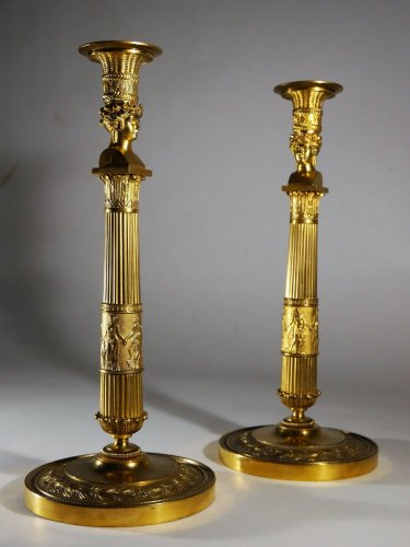 "19th century - Pair of candlesticks ""Joséphine's bust"" by Thomire"