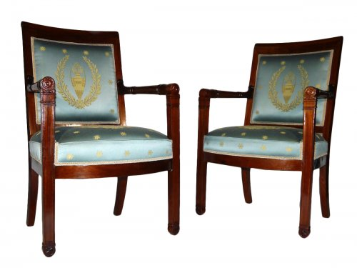 Pair of armchairs of the Empire period by Boulard