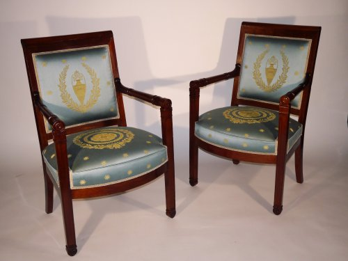 19th century - Pair of armchairs of the Empire period by Boulard