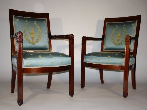 Pair of armchairs of the Empire period by Boulard - Empire