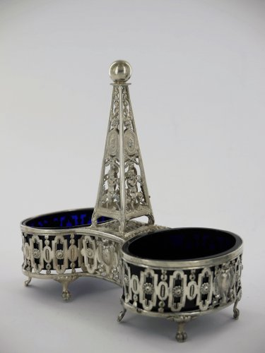 Antique Silver  - Pair of double saltcellars in silver, Louis XVI period, 18th century