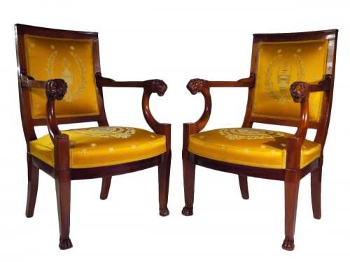 Pair of armchairs of the Consulate period by Demay