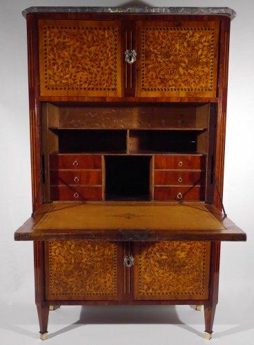 Louis XVI writing desk, in end grain wood - Furniture Style Louis XVI