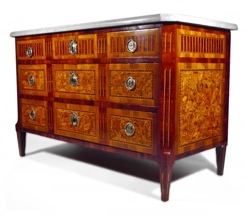 Louis XVI chest of drawers in end grain wood, 18th century