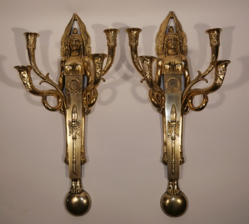 Pair of bronze scones by Claude Galle - Empire