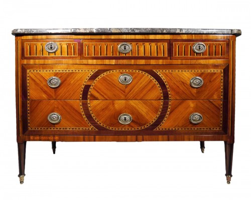 Louis XVI chest of drawers, stamped by Vassou