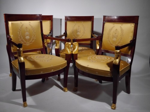 19th century - Franch Empire Mahogany Salon set, beginning of the 19th century