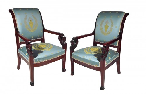 Pair of Empire armchairs, beginning of the 19th century