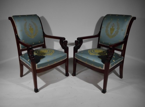 Pair of Empire armchairs, beginning of the 19th century - Seating Style Empire