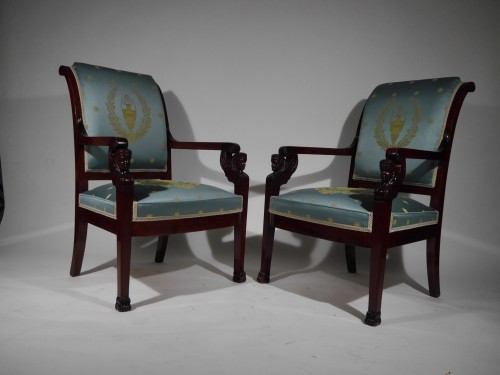 Pair of Empire armchairs, beginning of the 19th century -