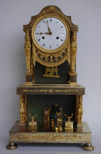 Gilt bronze clock of Consulate period - Clocks Style Empire