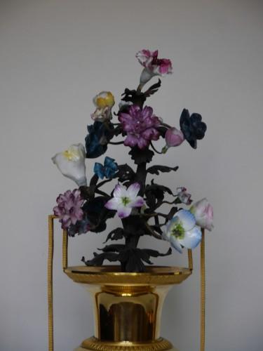 Bronze and porcelain pendulum clock vase of Directoire Period - Directoire