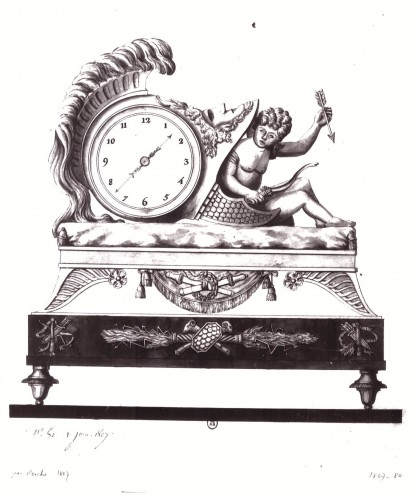 Antiquités - Empire mantel clock, 19th century