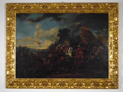 August Querfurt (1694-1761), Battle against the Turks - Paintings & Drawings Style Louis XV