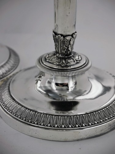 Pair of Empire silver candlesticks - Antique Silver Style Empire