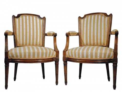 Pair of Louis XVI armchairs by P. Pluvinet, 18th century