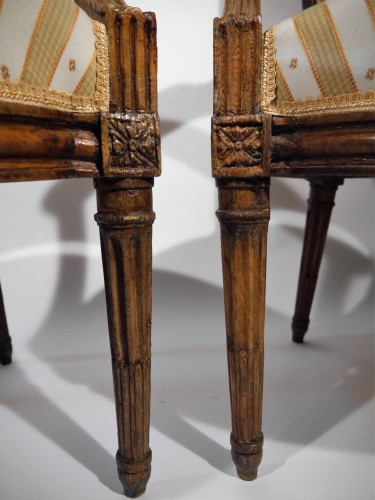 Seating  - Pair of Louis XVI armchairs by P. Pluvinet, 18th century