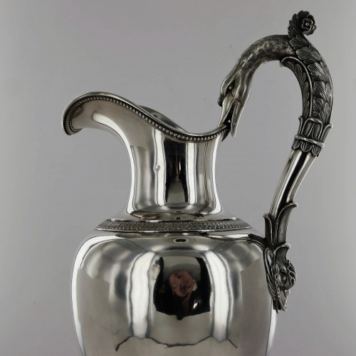 Ewer and its basin in sterling silver, beginning of the 19th century - Antique Silver Style Empire