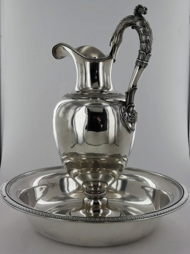 Antique Silver  - Ewer and its basin in sterling silver, beginning of the 19th century