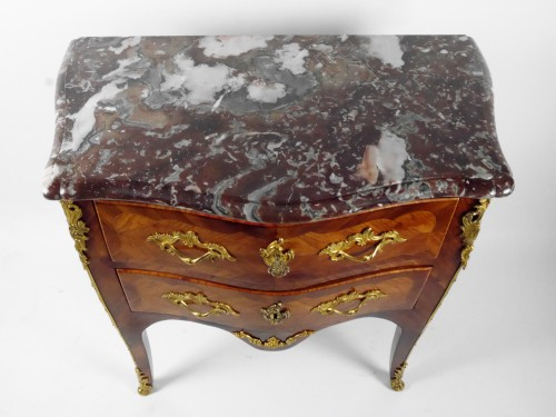 Furniture  - A Louis XV chest of drawers stamped by P Roussel, 18th century