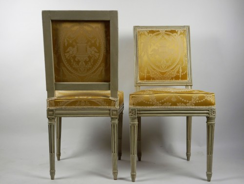 Louis XVI - Pair of chairs by Boulard from Palace of Compiègne, 18th century