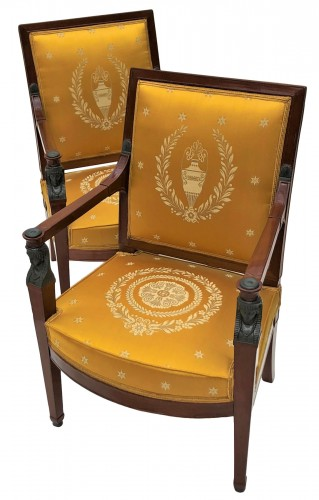 Pair of Consulate armchairs by Demay