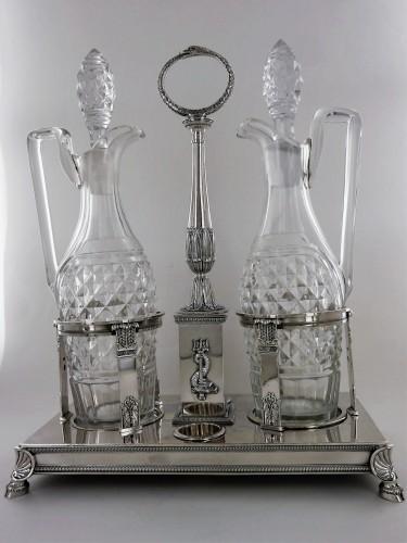 An Empire vinegar and oil cruets' support by Pierre Bouguignon - Antique Silver Style Empire