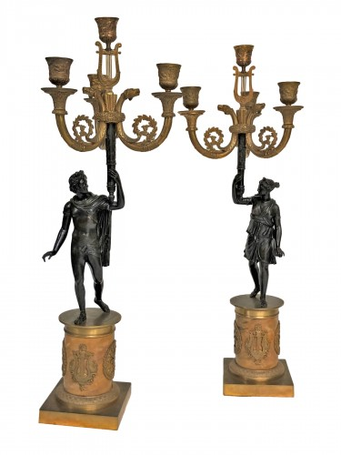 A pair of candelabra of the Empire period, beginning of the 19th century