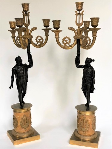 Lighting  - A pair of candelabra of the Empire period, beginning of the 19th century