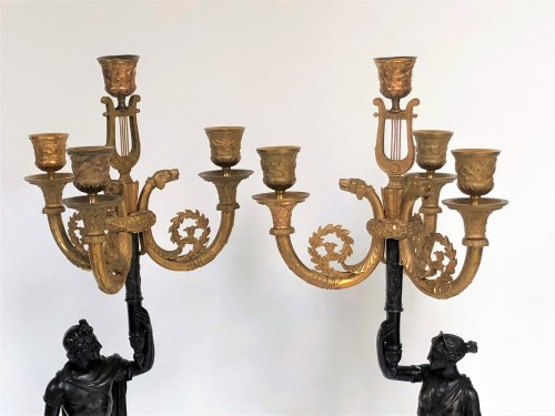 19th century - A pair of candelabra of the Empire period, beginning of the 19th century