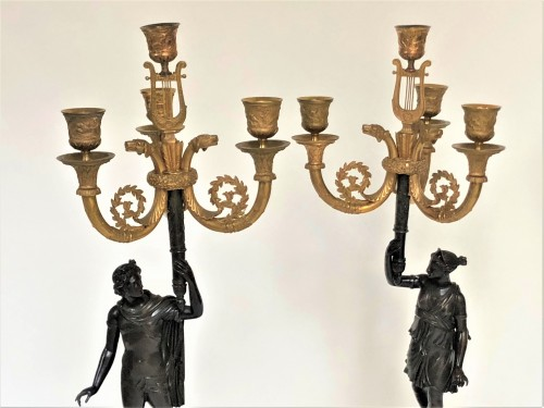 Antiquités - A pair of candelabra of the Empire period, beginning of the 19th century