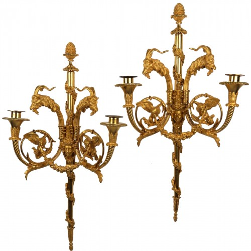 Pair of Louis XVI sconces by Gouthière or Thomire, 18th century
