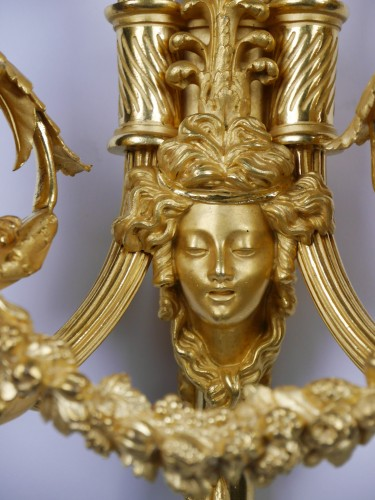 18th century - Pair of Louis XVI sconces by Gouthière or Thomire, 18th century
