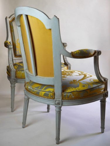 Seating  - A pair of Louis XVI armchairs by Henri Jacob, 18th century
