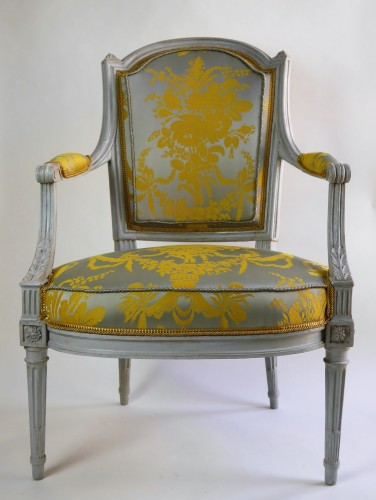 18th century - A pair of Louis XVI armchairs by Henri Jacob, 18th century