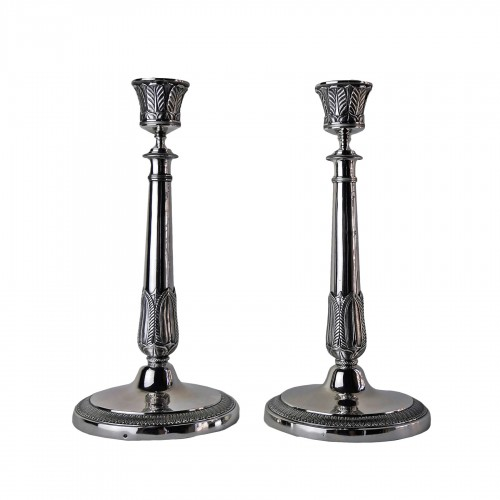 Pair of Empire candlesticks in silver, beginning of the 19th century