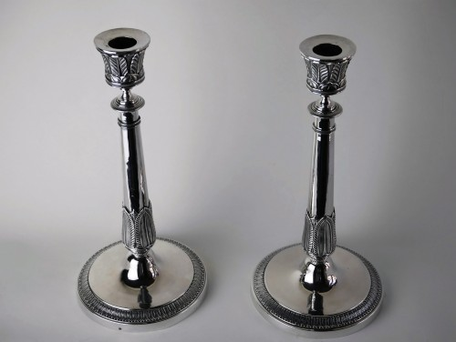 Antique Silver  - Pair of Empire candlesticks in silver, beginning of the 19th century
