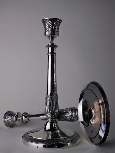Empire - Pair of Empire candlesticks in silver, beginning of the 19th century